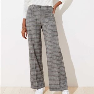 LOFT✨NWTs✨Brush Plaid High Waist Wide Leg Trousers